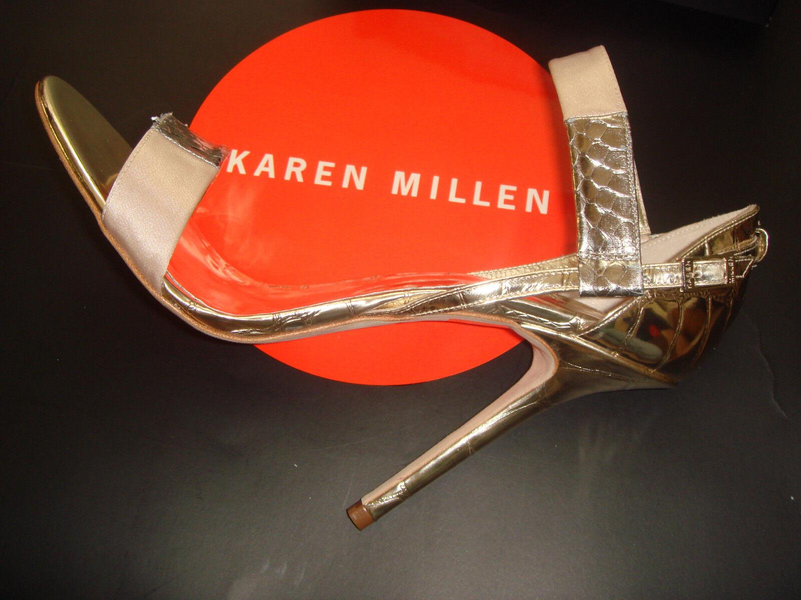 BNWB Karen Millen Argento Oro Argento Millen Metallico Neutro Color Carne Scarpe Rosa 40/7 c56426