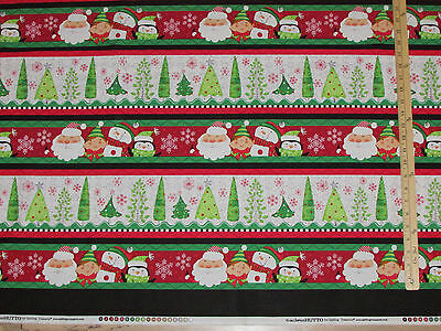 By 1//2 Yard Christmas Fabric ~ Holly Jollies Wavy Chevron Type Stripe in Red QT