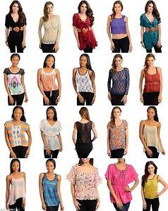 Lot-25-NEW-Wholesale-Tops-Shirts-Bottoms-Pants-Dress-Mixed-Women-Apparel-S