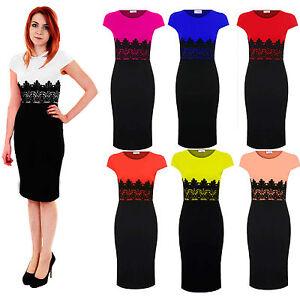 Ladies-Celeb-Cap-Sleeve-Lace-Contrast-Evening-Pencil-Womens-Midi-Bodycon-Dress