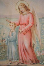 GUARDIAN ANGEL LOOKING AFTER A BOY FEST DAY OF THE ANGELS MEMENTO HOLY CARD