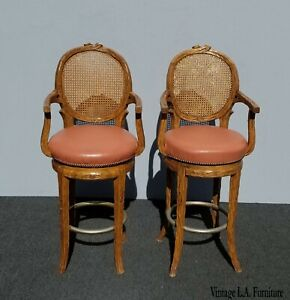 Pair-Vintage-French-Country-Orange-Coral-Leather-Cane-Swivel-Barstools-Bar-Stool