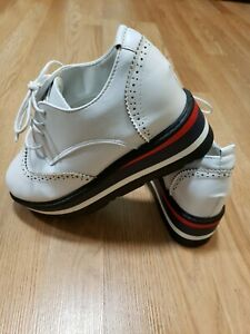 Women-Platform-Wedge-Loafer-Lace-Up-High-Heels-Casual-Creepers-Shoes-white-Sz-7
