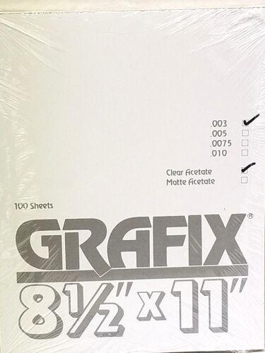 8.5 x 11 100ct K03CL0811 Grafix Clear Acetate .003