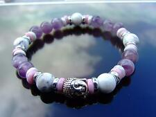 Buddha White Howlite/Amethyst 2 Bracelet 7-8'' Elasticated Healing Stone Chakra
