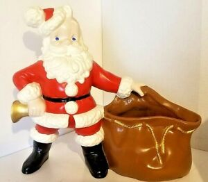 "VINTAGE Atlantic Mold 12"" CERAMIC Santa Claus with Bell & Toy Sack PLANTER"