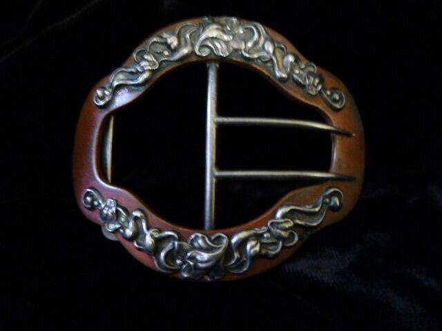 Victorian Art Nouveau Sterling Silver On Copper Repousse Designed Belt Buckle