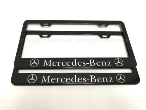 2PCS MERCEDES-BENZ* BLACK Metal License Plate Frame with Screw Caps ll
