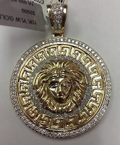 10k real yellow gold heavy 1 12ct diamond medusa head versace image is loading 10k real yellow gold heavy 1 1 2ct mozeypictures Image collections