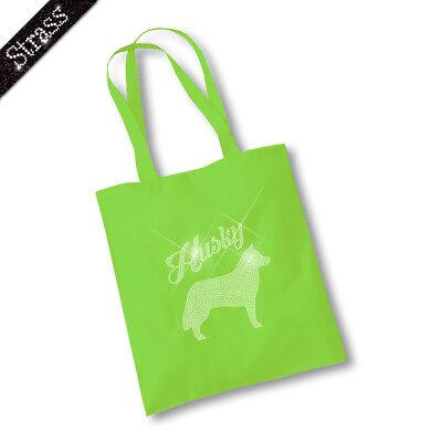 Jutebeutel Beutel Einkaufstasche Tasche Shopper Strass Hund Husky M1