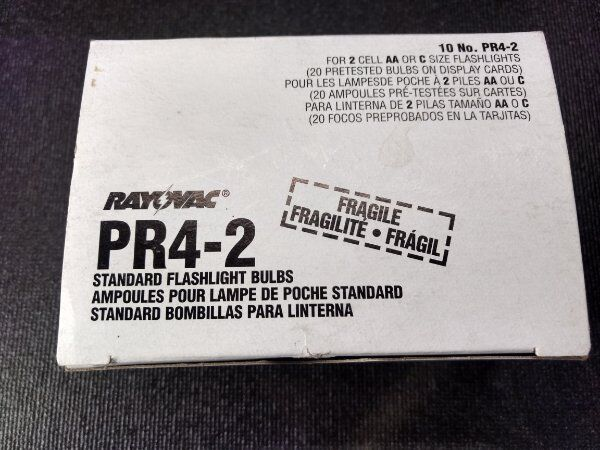 PR4-2 Heavy Duty Bulbs for 2AA or C Flashlights 10-Pack Rayovac Two No