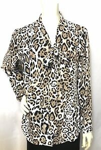 de9b34d9f2a02d NWT CHICO S Chic Animal Print Tie-Neck Detail Button Front Top Size ...