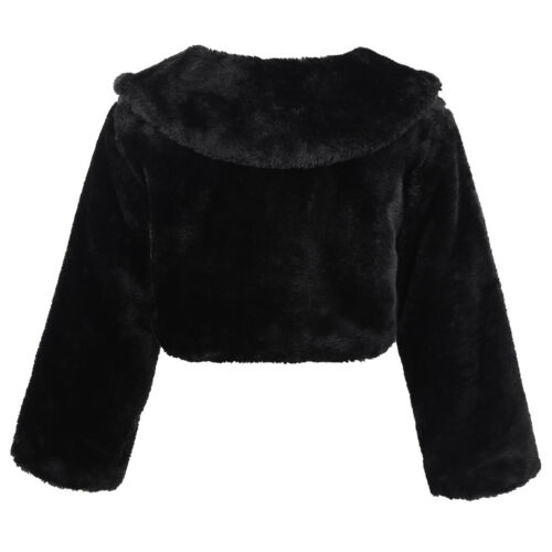 Girls Kids Baby Faux Fur Long Sleeve Coat Wedding Bridesmaid Jacket Outerwear