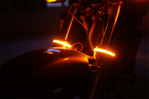 2Pcs 24 LED Motorcycle Front Fork Wrap-around Turn Signal Indicator Light Strip