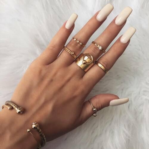 UK BOHO 6PC HOOP RING SET Gold Fashion Crystal Jewellery Gift Gypsy Punk Tribal