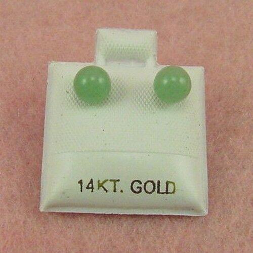 14K Yellow Gold 6mm Aventurine Ball Stud Earrings GE326