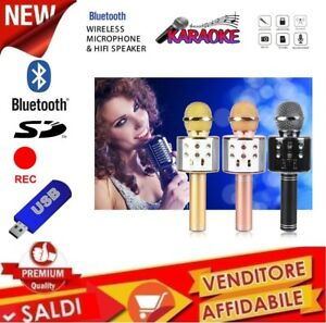 MICROFONO-PORTATILE-WIRELESS-CON-BLUETOOTH-KARAOKE-SPEAKER-CASSA-INTEGRATA-FESTA