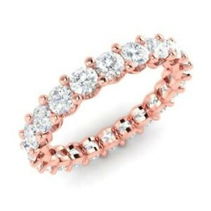 2.00 Ct Certified Real Moissanite Engagement Solid 18K Rose Gold Eternity Band