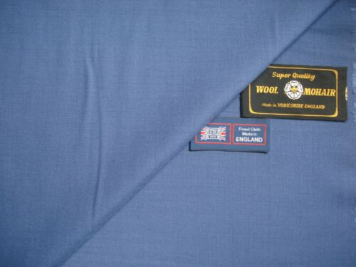 SUITING FABRIC IN Blue yonder-MADE IN ENGLAND-4.2m /& KID MOHAIR 70/% 30/% WOOL
