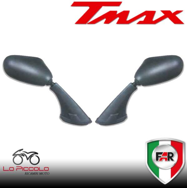 Coppia Specchietti Specchi Moto Far Neri Yamaha Tmax T-max 500 2001 -- 2007 Gradevole Al Gusto