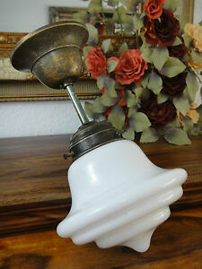 Deckenlampe-Jugendstil-Haengelampe-Antik-Messing-Deckenleuchte-Glas-Art-deco-Edel