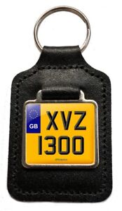 GB XVS 1300 Reg Number Plate Leather Keyring for Yamaha XVS1300 Stryker NOS