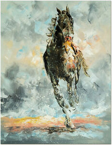 Details About Signed Hand Painted Modern Impressionist Horse Oil Painting On Canvas Wall Art