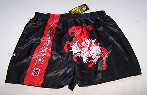 St-George-Illawarra-Dragons-NRL-Mens-Black-Satin-Boxer-Shorts-Size-L-New