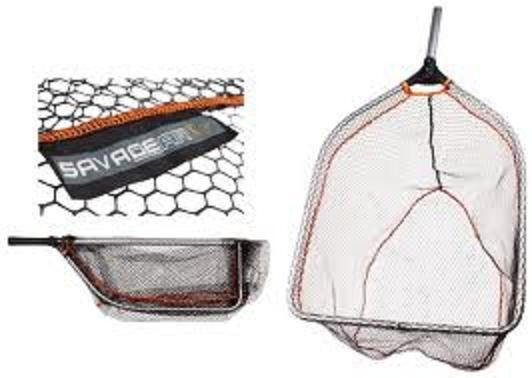 Savage Gear Folding Rubber Mesh Landing Net Teleskopgriff L XL Foret Salmon