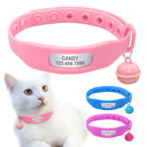 Personalised-Dog-Collar-Silicone-Pet-Cat-Name-ID-Collar-Tag-amp-Bell-for-Chihuahua