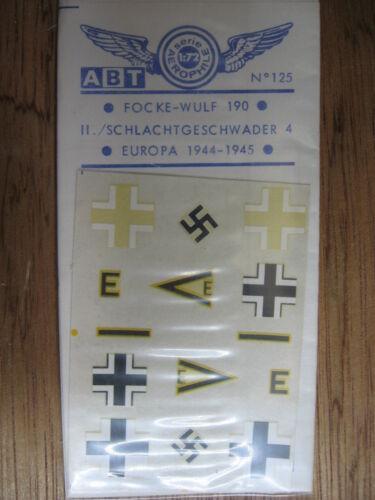 // SCHLACHTGESCHWADER 4  EUROPE 1944-1945 1//72 ABT DECAL N°125 FOCKE WULF 190 II