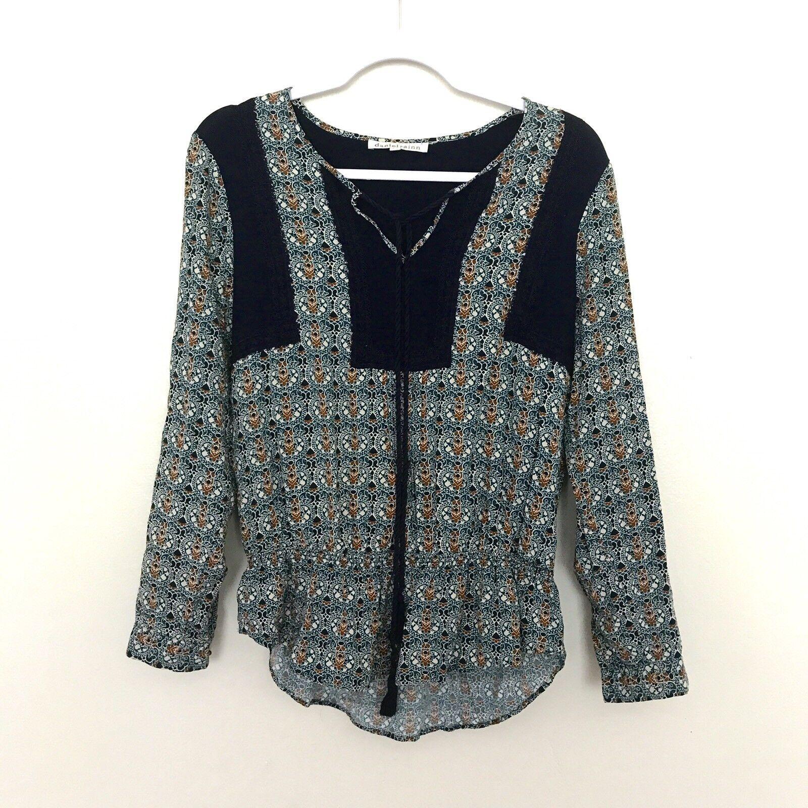 Daniel Rainn M Medium Crochet trim tie-up Printed boho Long Sleeve blouse