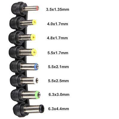 8Pcs/1 Lot Universal DC AC 2 Pin Plug Charger Tip Power Adapter Notebook Laptop