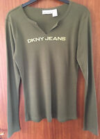 DKNY Ladies Green Round Neck Long Sleeve Cotton T Shirt, size Large