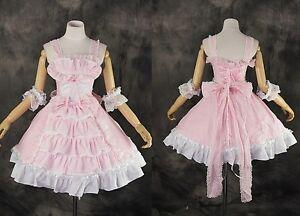 m-3144-S-M-L-XL-XXL-ROSA-FUCSIA-GOTICO-classico-lolita-cosplay-costume-vestito