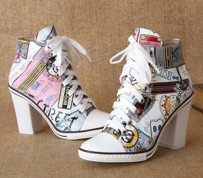 Womens Graffiti Canvas Pointy toe Sneakers Block heels Stilettos Ankle Boots new