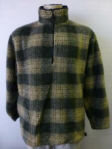 mens AMERICAN EAGLE AE77 green tan 1/2 zip deep pile Fleece Jacket ...
