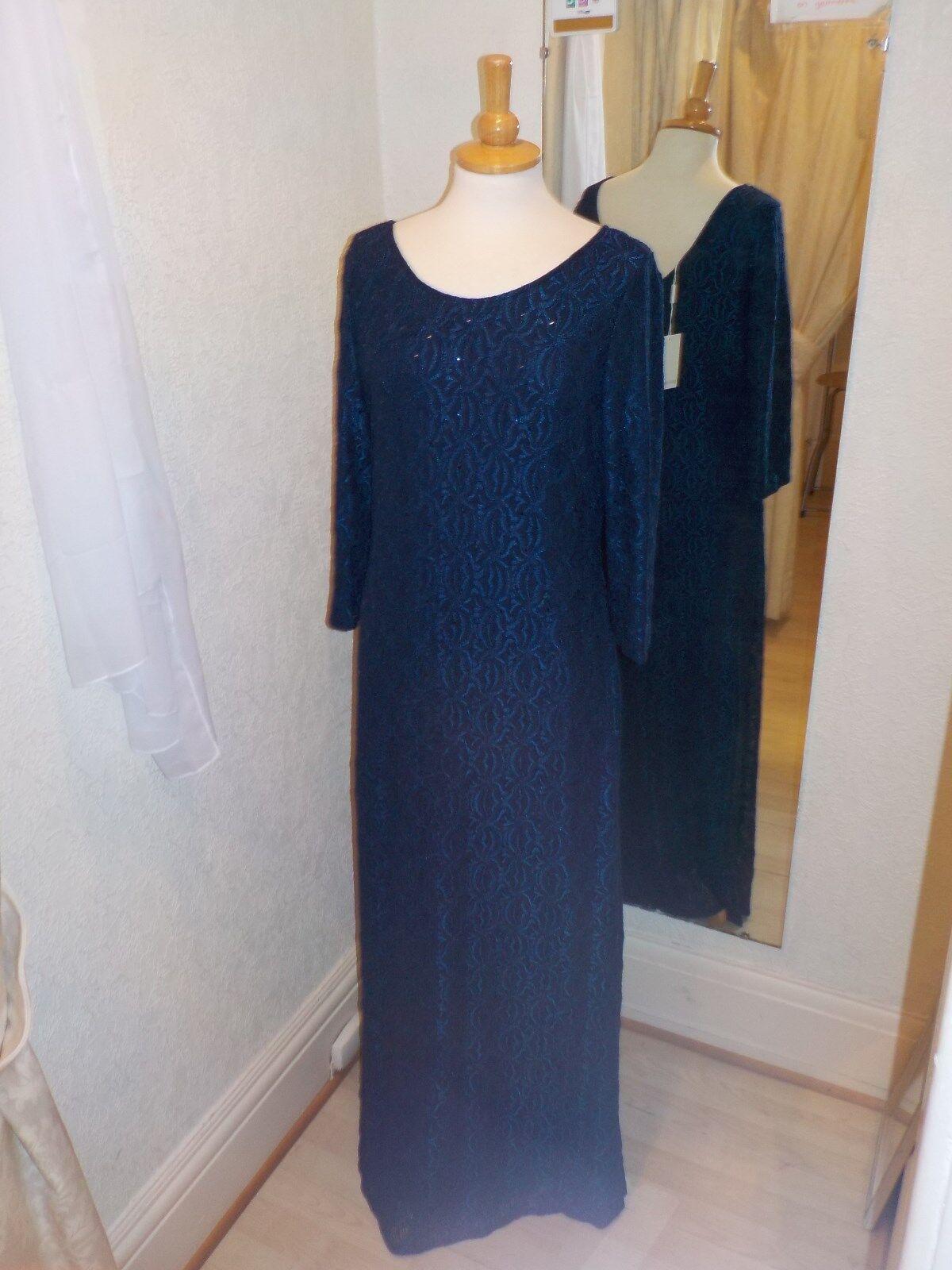 Gina Bacconi Navy Sprakle Detail Long Dress SQQ9093