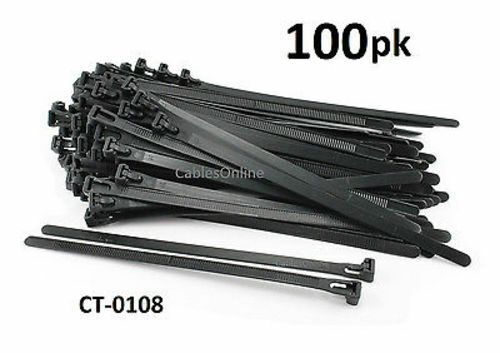 """100-PACK 8/"""" Nylon Releasable//Reusable Cable Ties// Cord Organizer CT-0108"""