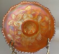 "Carnival Glass Bowl Fenton Marigold Grape and Leaves vine 5 7/8"" Scalloped edges"