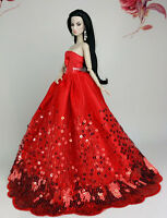 Fashion Princess Party Red Sequin Dress/clothes Wedding Gown For Barbie Doll Su8
