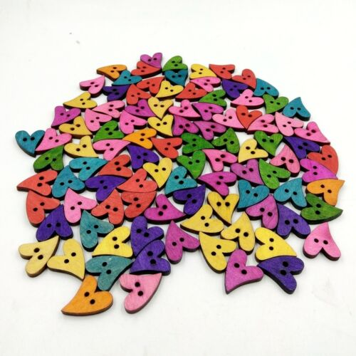 100pcs Colorful Wooden 2 Holes Buttons Handmade Heart Buttons for DIY Sewing