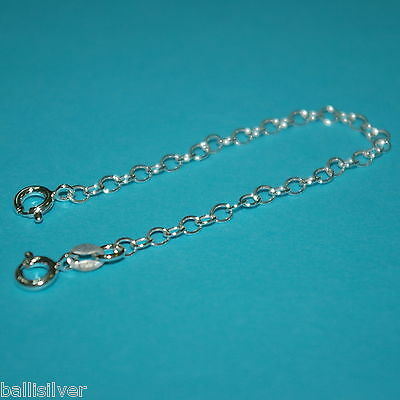"""6 pieces Real 925 Sterling Silver 5"""" Safety CHAIN EXTENDERS with 2 Spring Clasps"""