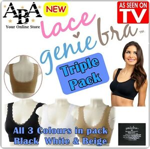 98f7216cf9a Image is loading Lace-Genie-Bra-3-pack-Black-White-amp-