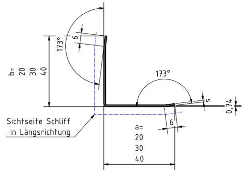 Edelstahl Kantenschutz Eckwinkel Eckschiene 1250mm 35x35mm 3-fach gekantet V2A.