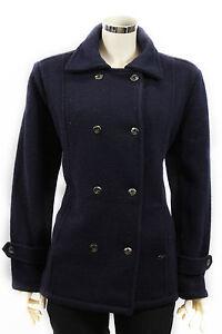 Cappotto-da-donna-blu-doppiopetto-Insport-lana-giacca-casual-moda-bottoni-tasche