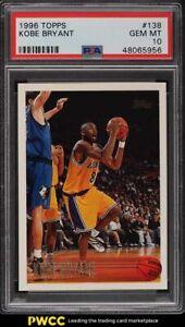 1996 Topps Basketball Kobe Bryant ROOKIE RC #138 PSA 10 GEM MINT