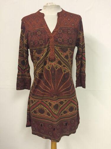 Next Brick Mix Print Embellished Detail Jersey Tunic Dress Size 6 P43