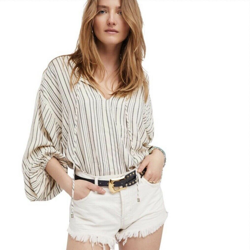 FREE PEOPLE Rhythm of the Night Top Tunic Ivory MEDIUM M  OB663226 NWT