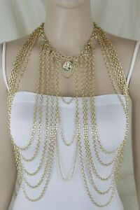 Women Gold Metal Full Body Chain Long Necklace Jewelry Harness Pewter Balls Bead